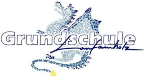 Logo grundschule Laufamholz blauer Drache